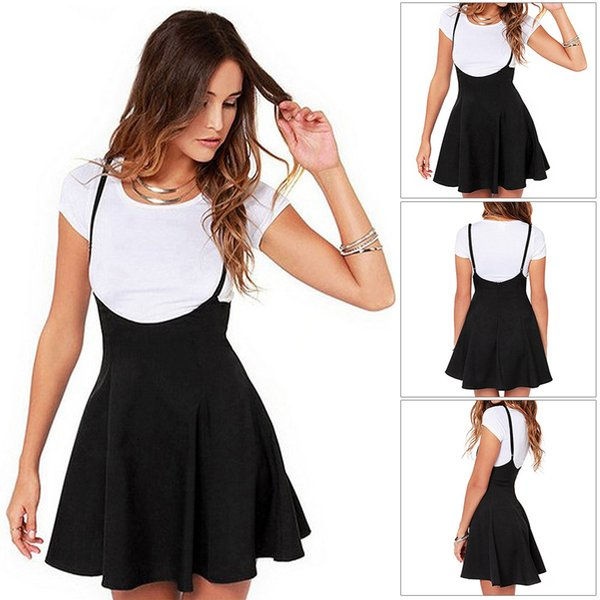 Summer Fashion Skater Backless Mini Women Skirt Soft High Waist Casual Strappy Pleated Zipper Solid Adjustable Strap Suspender