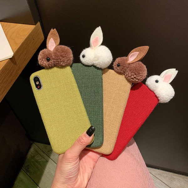 Lovely Rabbit Ears Bracket Fur Plush Designer Phone Case For iPhone X XR XS Max 7 8 Plus Winter Bunny Fluff Cover Case