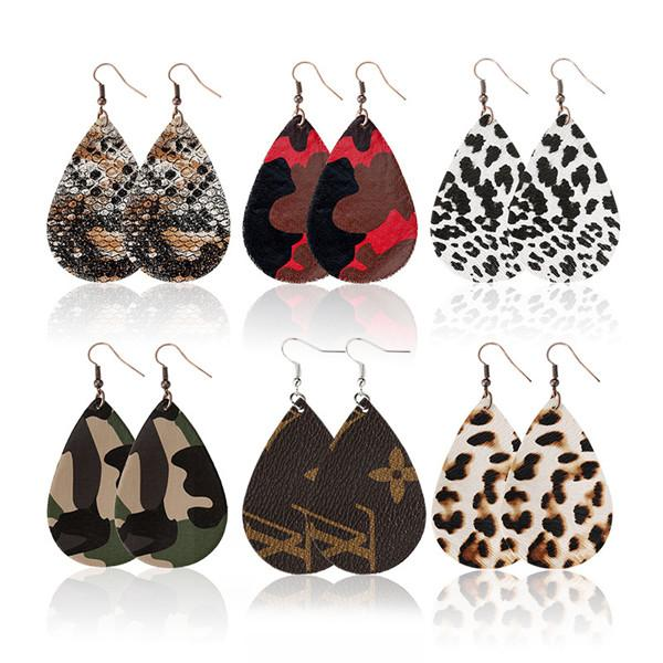 best selling fashion camouflage printed teardrop leather earrings for women leopard earrings girls cute party earrings light weight