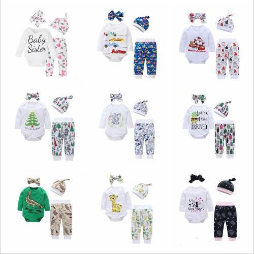 Kinderkleidung Baby Mädchen Boutique Anzüge Designer Mode Outfits Tier Gedruckt Tops Hosen Hüte Stirnband Weihnachten Cartoon Kleidung Set A5245
