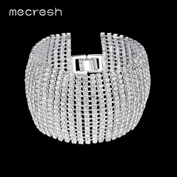 Mecresh Crystal Bridal Bracelets for Women Rhinestone African Bridesmaid Pulseira 2018 Wedding Prom Jewelry Christmas Gift SL145