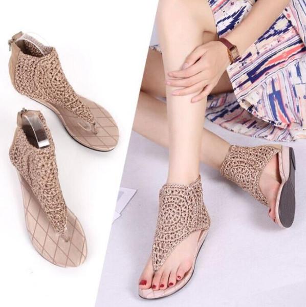 2019 Summer New Slope and Foot Sandal Female Xia Gao Bang Roman Beach Shoes Retro Toe Flats