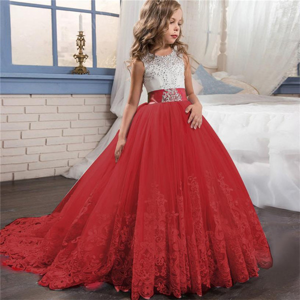 Girl Dress Bridesmaid Pageant Gown Dress Girl Kids Dresses For Girls Teenager 8 10 12 14 Years Wedding Party Dress Lace Clothes