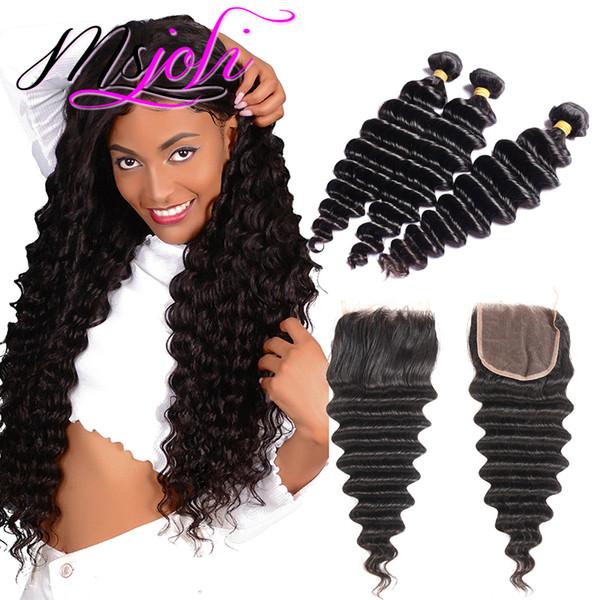 Lose Tiefe mehr Welle Malaysian Hair Weave Bundles Remy Human Hair Weave Extensions 3 Bundles mit Verschluss