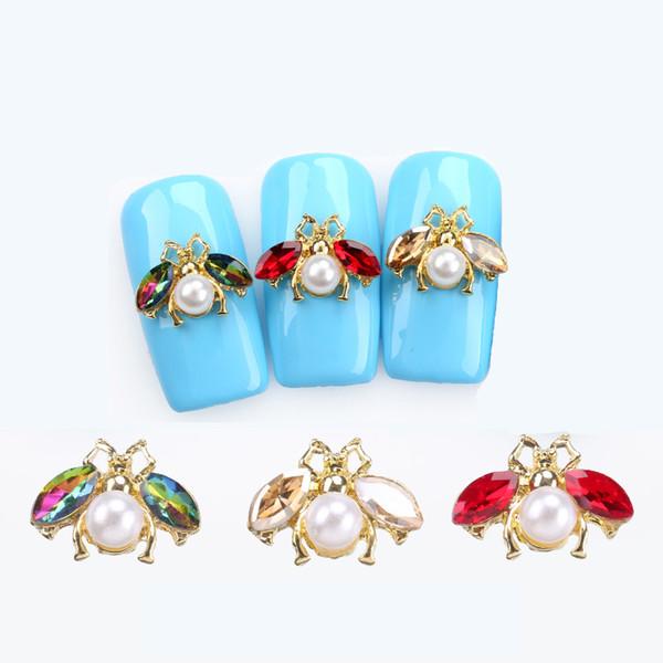 10 pz / lotto giapponese 3D ape decorazioni per unghie artistiche fai da te cristallo glitter unghie unghie strass borchie simpatici animali design accessori per unghie in lega