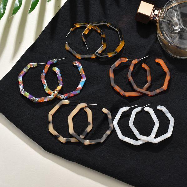 5 Цветов Уникальный Дизайн Мода Шестиугольник C Стиль Серьги Легкие Акриловые Геометрия Серьги Ювелирные Изделия для Женщин