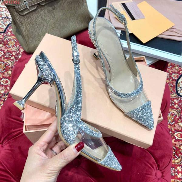 SATIN E PLEXIGLAS SLINGBACKS Designer Apontado Toe bomba com transparente-PVC slingback salto alto Nosy Spikes Mulheres Studded Vestido Sapatos