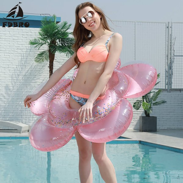 best selling FDBRO 2019 New Summer Women Beach Tube Raft Inflatable Fun Pool Toys Inflatable Flower Swim Ring Pool Float Adult Water Swimming