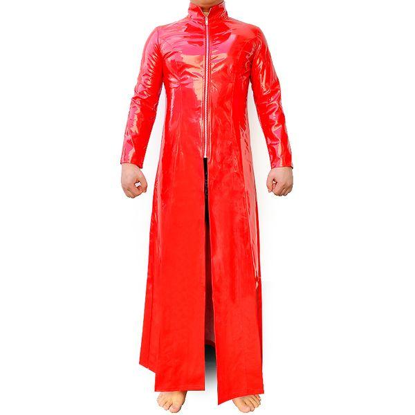 Catsuit in lattice rosso Catsuit in pelle verniciata PVC Il costume Matrix Costume in lattice gay Pelle estensibile Trench lungo cappotto