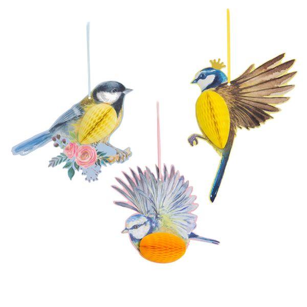 3pcs Hanging Paper Party Decoration Honeycomb Birds Tiki for Wedding Birthday Garden Tea Party Easter Spring Decor