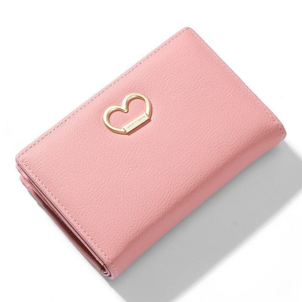 New Many Departments Women Wallets With Zipper Coin Purses Card Holder Standard Wallet Female Metal Heart Ladies Purse Carteira