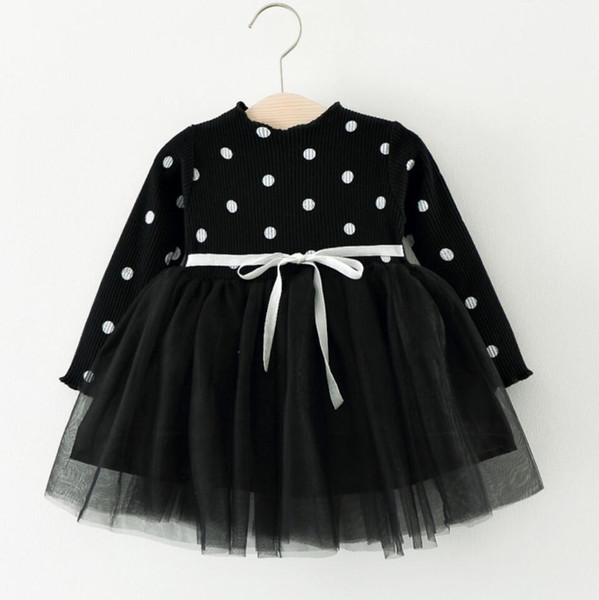 Autumn Winter DOT Knit Dress For Girls Pullover baby girl clothes for Birthday party Kids bebe Christmas costume baby dresses