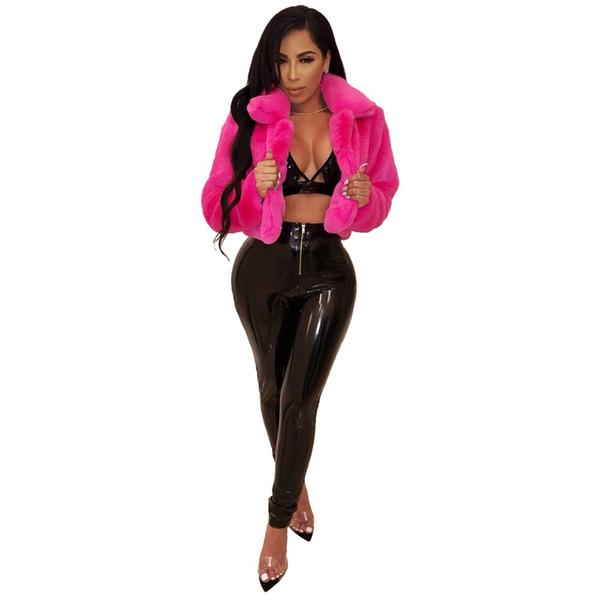Autumn and winter Women Fashion Rose Pink Faux Fur Coat Cardigan Short Jacket Fuffy Coat