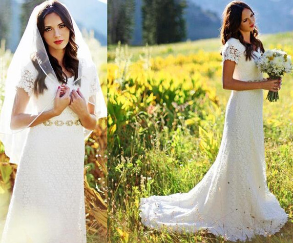 2019 Vintage Classic A Line Bridal Gowns with Short Sleeve Lace Wedding Dress beaded sash Modest Western Country garden boho Wedding Gowns