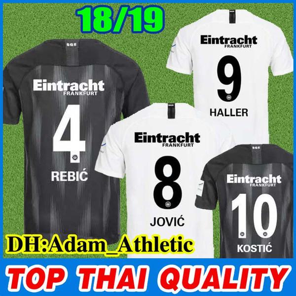 2018 2019 Maglia Eintracht Frankfurt Fußball AG 18 19 Maglia domestica KOSTIC REBIC nera Maglia da calcio JOVIC HALLER bianca magliette SGE
