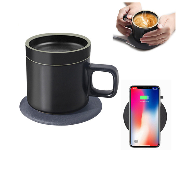 55 ° C Cerámica Aislamiento Taza de café Inteligente 10W Qi Cargador inalámbrico de base rápida cargador Base eléctrica Taza de café Tazas