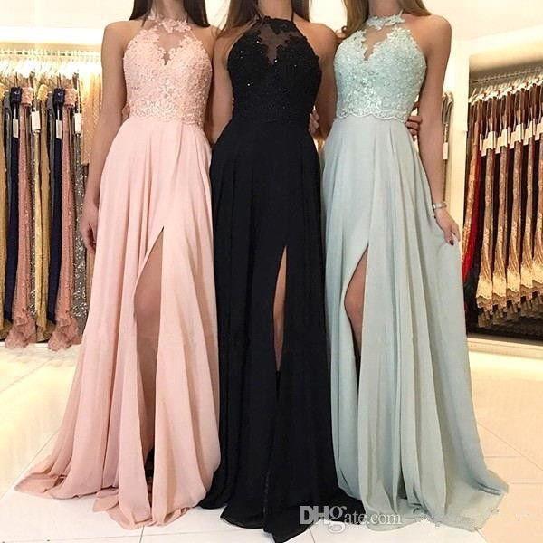 2019 Elegante Halter Chiffon Longo Da Dama De Honra Vestidos Lace Applique Dividir Convidado Do Casamento Vestido Dama De Honra Vestidos BM0267