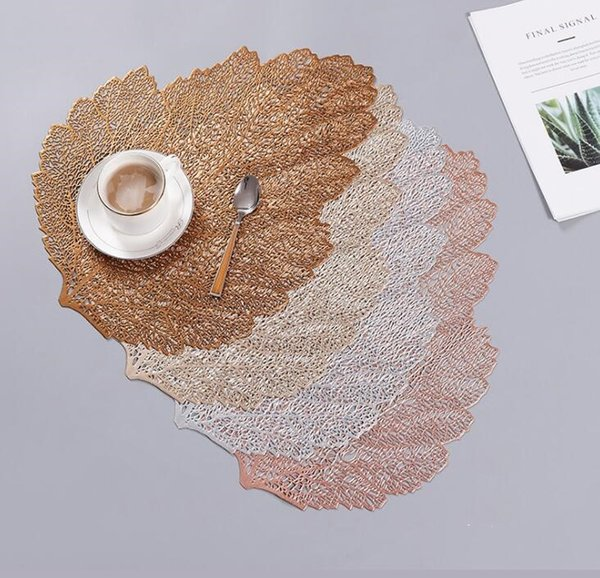 Gold Silver Placemats for Table Wedding Decoration Pads Mats Kitchen Coffee Bar Mug Coaster PVC Dinner Table Placemats