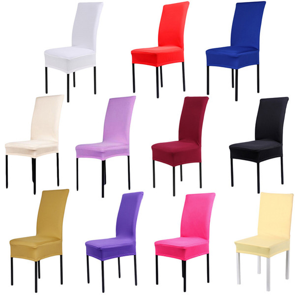 24High quality Home Chair Cover wedding decoration Solid Colors Polyester Spandex Dining Chair Covers For Wedding Party 1pcs