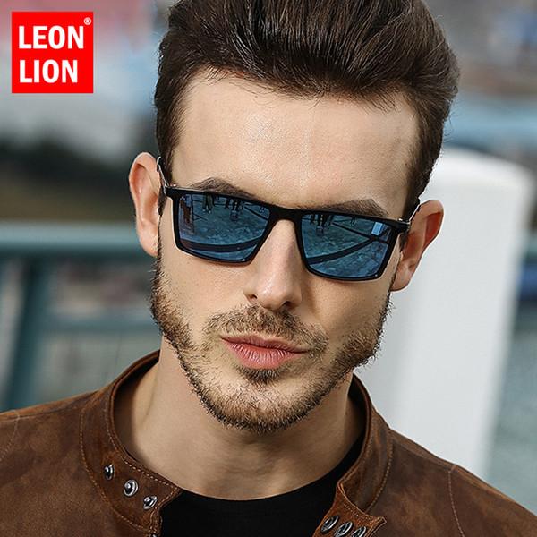 LeonLion 2019 Square Polarized Sunglasses Men Mirror Driving Retro Sun Glasses UV400 High Quality Lunette De Soleil Homme