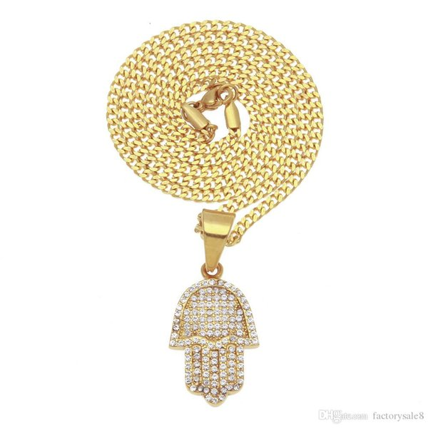 2018 Lucky Jewelry !Hamsa Hand Mens Golden chain necklace micro pave cubic zirconia Hand of Fatima Pendant Necklaces for hiphop