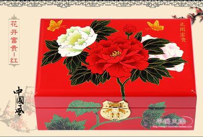 NUOVA scatola di fiori di peonia in legno laccato classico cinese a mano 2 strati