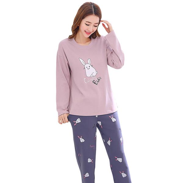 Women pajamas set Women Pyjamas Knitted Cotton Cute Cartoon Female Spring Autumn Pajama Set Long Sleeve Full Trousers Two Pieces