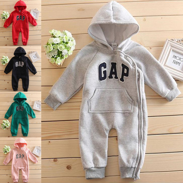 5 colors Baby Letter rompers boys and girls bottoming warm jumpsuits cute cotton baby hoodie baby clothes Creeping suit Wholesale BJY881