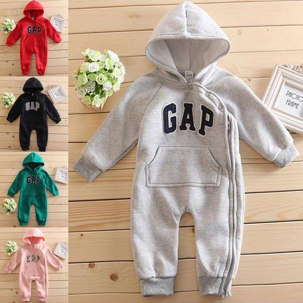 5 couleurs Lettre barboteuses garçons et filles talonnage salopettes vêtements chauds bébé mignon sweat à capuche bébé coton rampantes costume gros BJY881