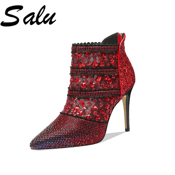salu fashion boots women mesh pointed toe party wedding shoes woman thin high heels zipper prom summer boots