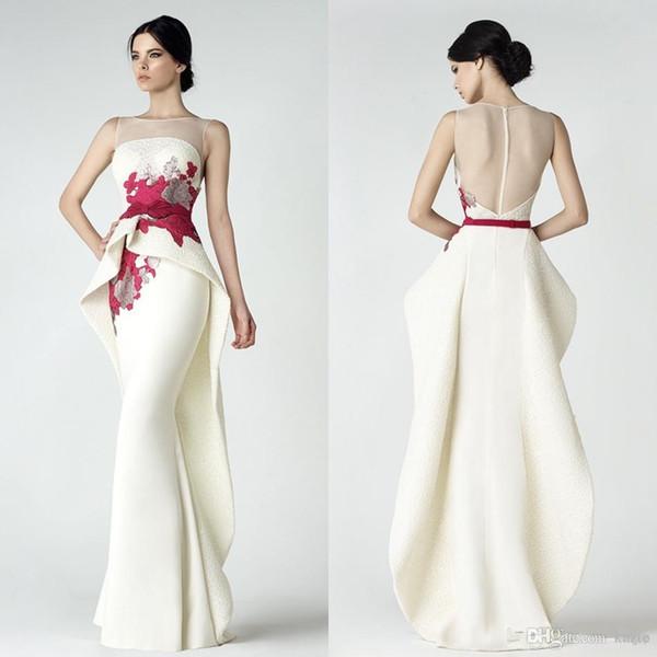 2019 Elegant Mermaid Prom Dresses Saiid Kobeisy Sheer Bateau Neckline Peplum Party Gowns Cheap Appliqued Evening Wear For Women