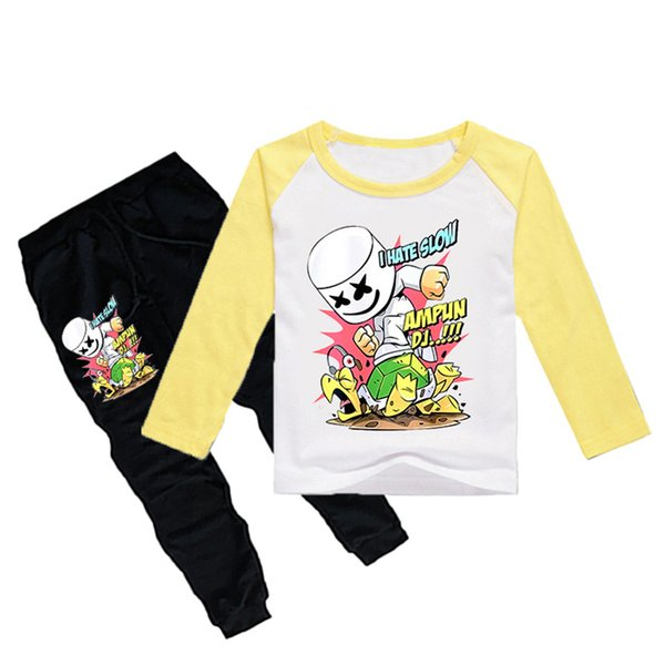1-12Y Boys Girls long sleeves T-shirt + Trousers 2 Piece Sets DJ Marshmello Printed kids clothing sets kids designer clothes DHL JY109