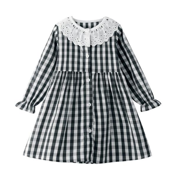 Дети Straight платье Новый детей Кнопка Лейси плед Длинные платья рукава Весенняя мода для детей Повседневная Сыпучие платье принцессы # L15