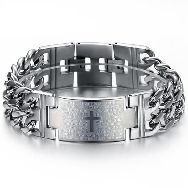 Chain degli uomini e dei ragazzi del braccialetto della traversa d'acciaio di titanio del braccialetto di modo Prepotente personalità di regalo di compleanno gioielli Student Lunghezza 21 centimetri