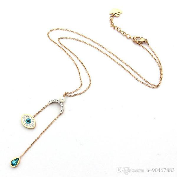 Осень новый бренд горячей продажи титана стали ожерелье 18 К розовое серебро голубой капли воды ожерелье кисточкой подходит для женщин пара подарок