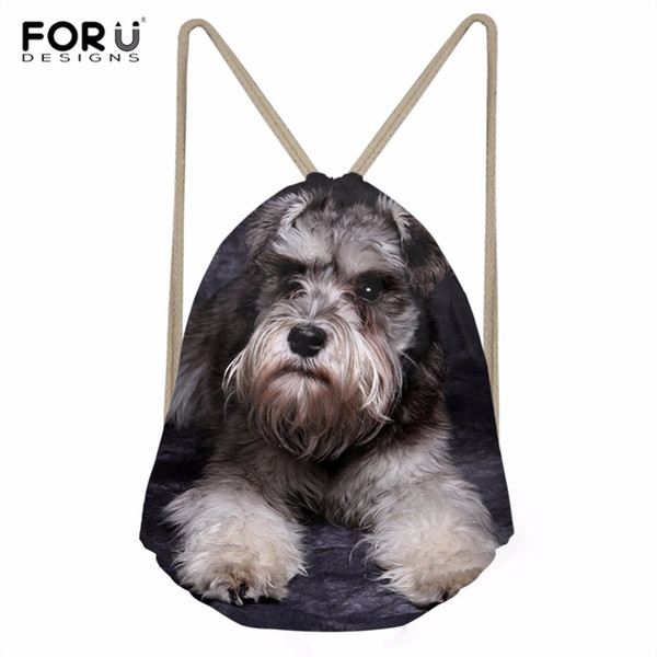 FORUDESIGNS Women's Bags Drawstring Backpack Dachshund Shih Tzu Dogs Schnauzer Printing Sport Bag for Women Fitness Gym Sack #355922
