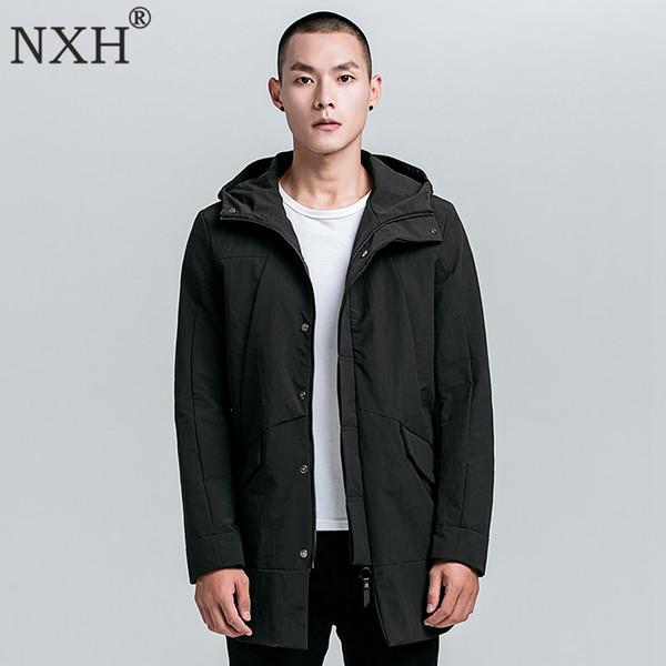 NXH 2018 outono nova homens Europeus e Americanos longo blusão com capuz homens Trench men fina jaqueta de inverno casaco longo plus size