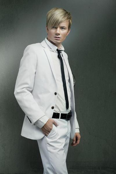 New White Slim Fit Wedding Men Suits Wedding Groom Tuxedos 2 Piece (Jacket+Pants) Bridegroom Sets Best Man Blazer 158