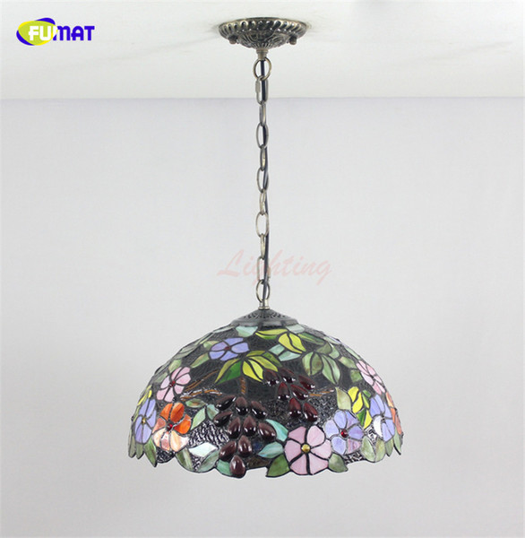 Fumat European Style Tiffany Stained Glass Pendant Light For Living Room Bed Room Artistic Decor Grape Shade Led Pendant Lamps Nautical Pendant Lights