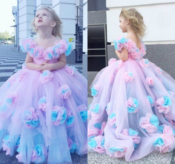Rainbow Ball Gown Flower Girl Dresses For Wedding 3D Flowers Girls Pageant Gowns V Neck Sweep Train Tulle First Communion Dress