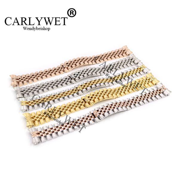 CARLYWET 20mm Acciaio inossidabile 316L Giubileo Argento Due tonalità Oro rosa Orologio da polso Bracciale con cinturino Solido Collegamenti a vite Curvo Fine