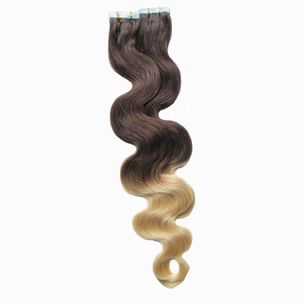 Black And Blonde Ombre Hair Extensions 40 pcs Virgin Brazilian Body Wave Tape In Human Hair Extensions Two tone Ombre Tape In Hair Extension