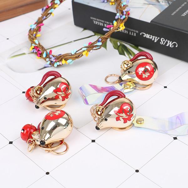 Cute Lucky 12 Zodiac Mouse Keychain Crystal Crystal Handbag Keyrings Charms Rat Animal Jewelry For Women Gift Car Key Chain
