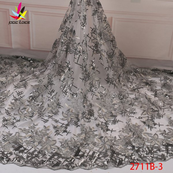 Africaine dentelle Tissu 2019 de haute qualité en dentelle maille tissu brodé Paillettes dentelle suisse nigérien Tissu XZ2711B 3