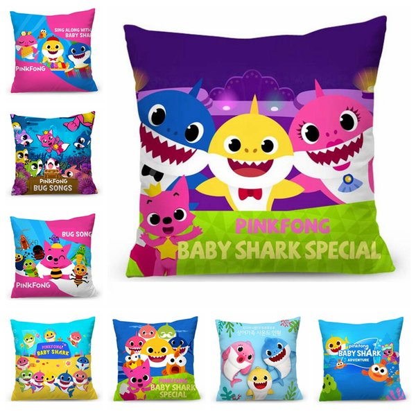 Baby Shark Pillow Case 45*45cm Shark Single Printed Pillow Cover Bed Car Cushion Case 11 Styles OOA6394