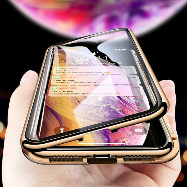 Luxury Magnetic Adsorption Upgrade Double Side Glass Case for iPhone X XS MAX XR 7 8 Plus Tempered Glass Cover Metal Bumpers for Samsung S9