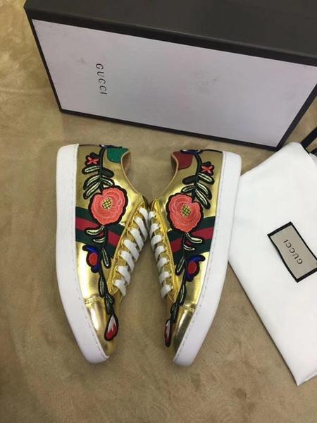 Top Qualität Luxus Männer Frauen Brief Stickerei Band Blumen Paare Schuhe Rindsleder Casual Sportschuhe Turnschuhe 35-45 Mit Box