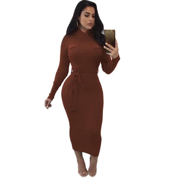 Vestido de suéter ajustado de las mujeres otoño invierno vestido de punto Cintura ceñida Slim Fit elástico cuello alto de manga larga vestido de punto de mitad de la pantorrilla