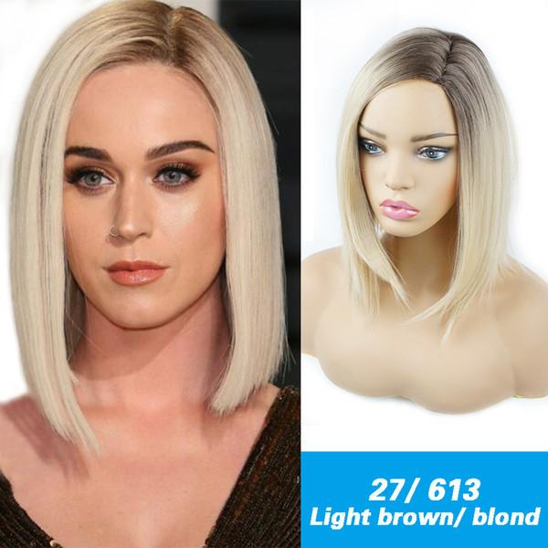 Ombre 613 Blonde Kurze Bob Kunsthaarperücken für Frauen Mittellange Asymmetrische Seitenteil Gerade Haar Perücken Kostüm Cosplay Party Perücken