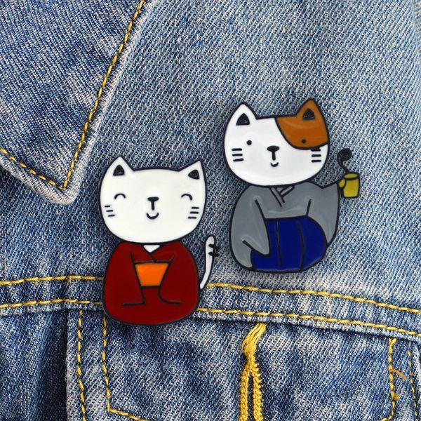 Shinjuku Dressed in a Japanese kimono Cute cat Couple Enamel brooch Vintage cute lucky cat badge Sweater denim backpack pin